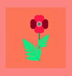 Flat shading style flower papaver vector