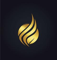 leaf organic wave gold logo vector image vector image