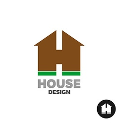 Letter H as a house silhouette building logo vector image vector image