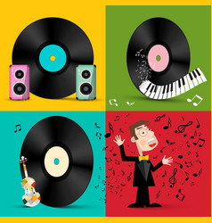 lp - vinyl record discs with speakers piano vector image vector image