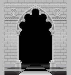 stone gothic arch and wall in black and white vector image vector image