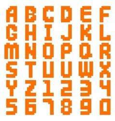Alphabet abstract pixel art all letters and number vector image