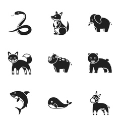 Animals set icons in black style Big collection vector image vector image