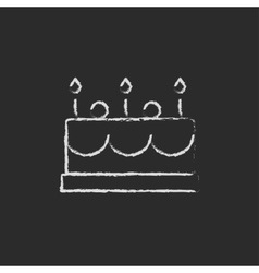 Birthday cake with candles icon drawn in chalk vector image vector image