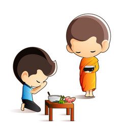 buddhist monk holding alms bowl in his hands vector image