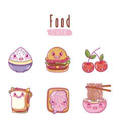 cute food kawaii cartoons vector image vector image