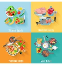 Home cooking 4 flat icons square banner vector image vector image