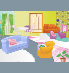 living room design cozy home interior flat style vector image