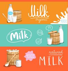 milk products horizontal flyer set vector image vector image