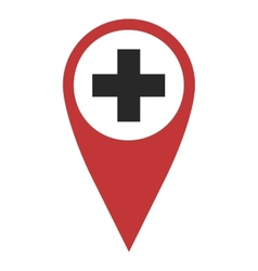 Red geo pin with cross vector image vector image