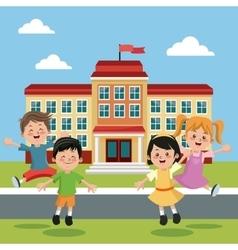 students group happy back school building vector image vector image