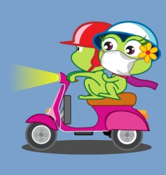 a frog couple riding Vespa vector image