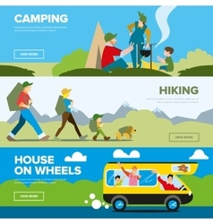 Banners of hiking and family andventure vector image vector image