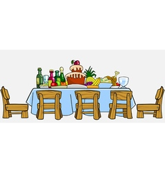 cartoon table with chairs and cluttered food vector image vector image