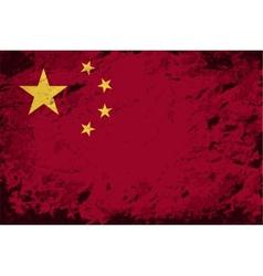Chinese flag Grunge background vector image vector image