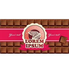 chocolate bars in ribbon with vintage label vector image