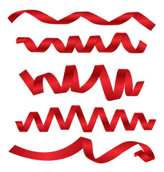 dynamic shapes of red ribbons for different design vector image vector image