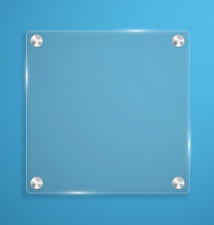 Glass plate background with rivets for text vector image