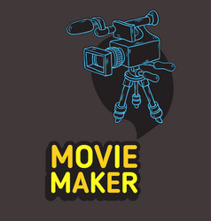 movie maker poster design with isolated video vector image