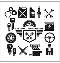 off-road adventure and car parts icon set vector image vector image