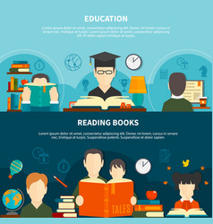 reading horizontal banners vector image