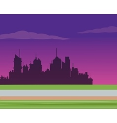 silhouette city night road background vector image
