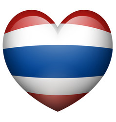 thailand flag in heart shape vector image vector image