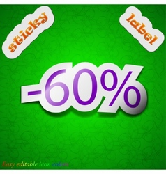 60 percent discount icon sign Symbol chic colored vector