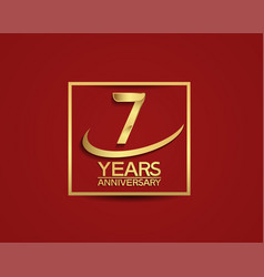 7 years anniversary with square and swoosh golden vector