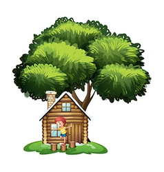 A boy playing outside the small house under the vector image