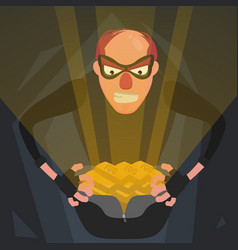 a thief in a mask opens a bag with shiny gold vector image