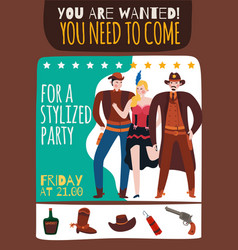 american west party poster vector image
