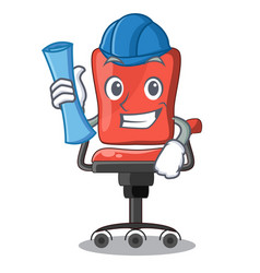 architect cartoon desk chair in the office vector image