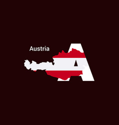 Austria initial letter country with map and flag vector