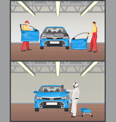 Automobile painting and repairing colorful poster vector