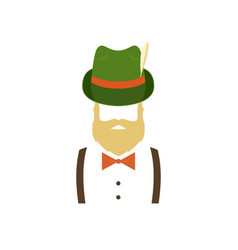 bearded man in green traditional german hat vector image