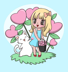 Beautiful cute little girl carrying heart with cat vector