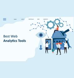 best web analytics tools mockup landing page vector image