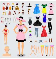 Big set for creation unique female character vector