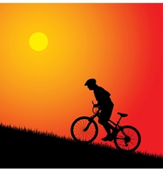 biker silhouette on sunset vector image