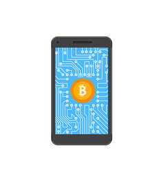Bitcoin crypto currency concept of mining vector