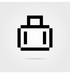 black 8 bit suitcase for travel with shadow vector image