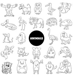 black and white cartoon wild animal characters vector image
