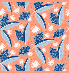 Blue and red tropic island leaves pattern for vector