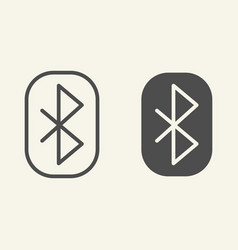Bluetooth line and glyph icon connection vector