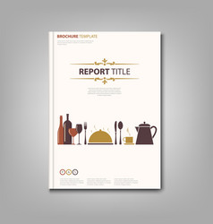 brochures book or flyer with restaurant pattern vector image