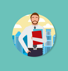 Businessman worker man character and urban vector
