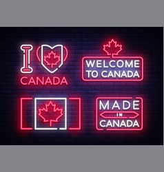 Canada flag badges collection neon sign i vector