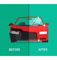 Car before after crashed broken and repaired vector image