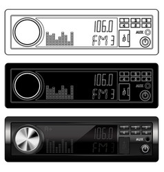 Car radio device black and white icons and 3d vector